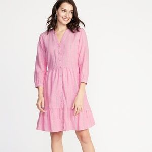 Old Navy NWT Pink Striped Button Front Midi Dress